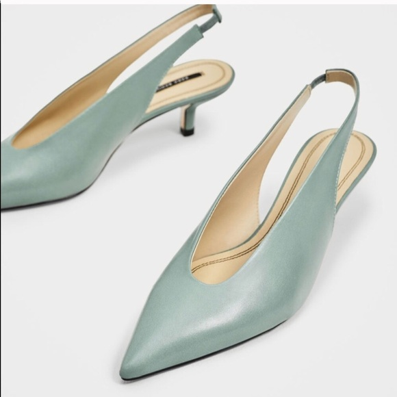 45198056bd46 NWT ZARA MINT LEATHER SLINGBACK KITTEN HEELS 6